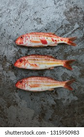 Red mullet on a stone surface