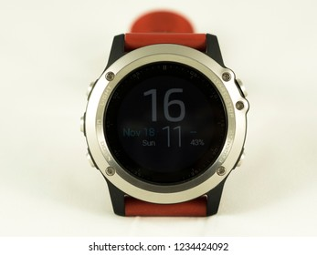 The red multisport time watch