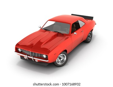 Red muscle car isolated on white background 3d