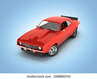 Red muscle car without shadow isolated on blue gradient background 3d