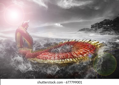 The red naga is swimming in the stormy sea.
