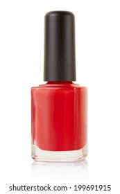 Red nail polish bottle isolated on white, clipping path included