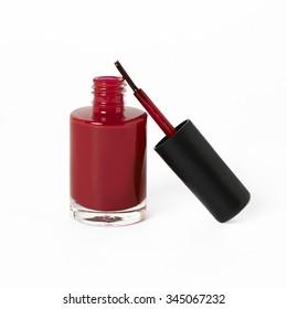 red nail polish on white background