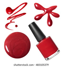Red nail polish set isolated on white