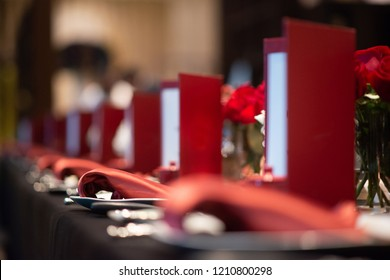 red napkin in perspective on fine dining table