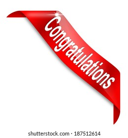 Red narrow corner with the word congratulations - illustration