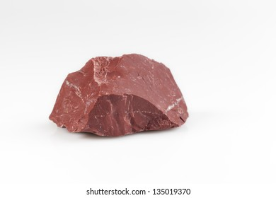 red natural stone in white background