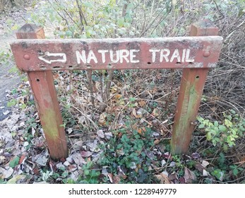 red nature trail sign with left arrow and leaves