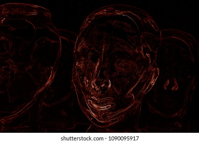 Red neon lights on black background simulating woman heads, about the human being as merchandise, philosofycal concept