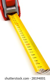 Red new tape-measure on a white background
