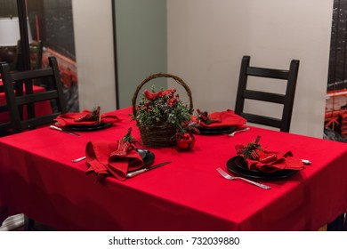 Red New Year Table Setting