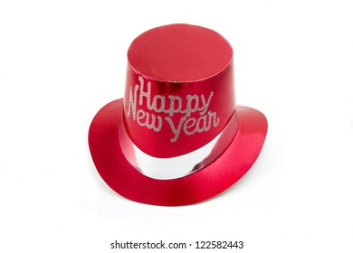 Red New Years party hat isolated