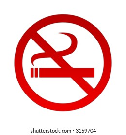 Red no smoking sign on white background.
