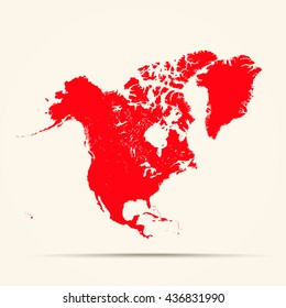 Red North America Map Illustration