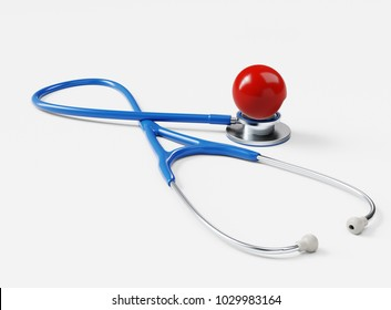 Red Nose Day Concept. Stethoscope and Red Nose isolated on White. 3D illustration
