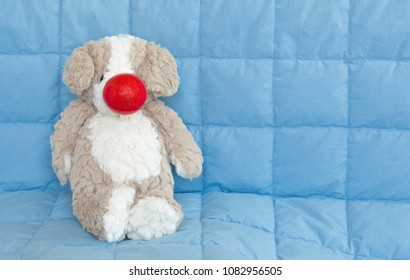 Red Nose Day-cuddly stuffed brown bear wearing a red nose isolated on a blue quilt with copy space
