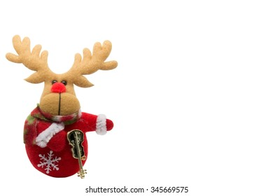 red nose rain deer made from fabric on  the  white background for Chrismas and new year theme