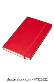 Red notebook at angle on white background