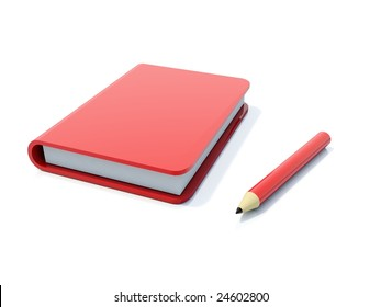 Red notebook with pen isolated on white