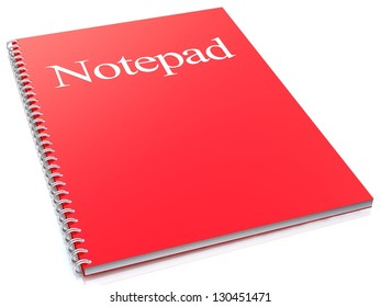 Red notepad isolated on white background