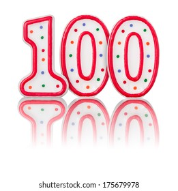 Red number 100 with reflection