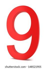 Red number. 3d illustration on white background