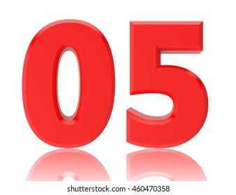 Red numbers 05 on white background illustration 3D rendering