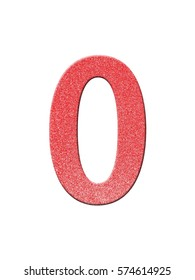 red numbers eight (0), glitter metallic number text isolated on white background design. for decoration. modern fashion