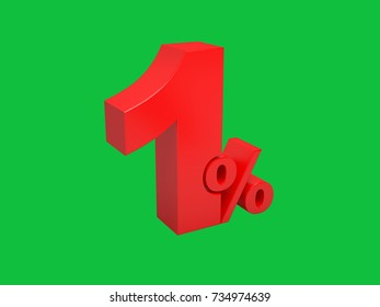 The red numbers are one percent. Discount, sale. Isolated on green. 3D Render