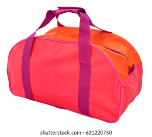 a red nylon sports bag, isolated, clipping path
