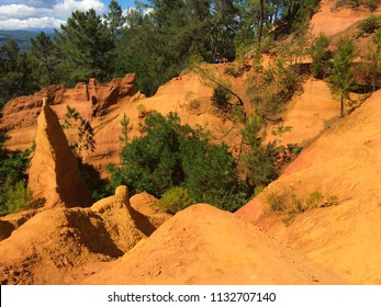 Red ochre landscape in the natural park near Roussillon, Provence, South of France