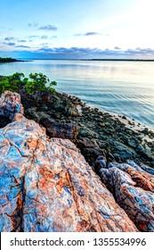 Red ocre rocks at Honeymoon Bay Kalumburu Western Australia Kimberley Region HDR