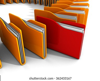 red office folder with documents out from yellow group. 3d render illustration