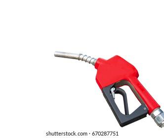 Red oil dispenser isolated on white background.