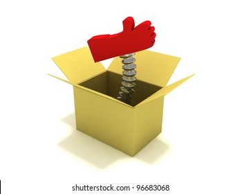 Red OK hand sign in box
