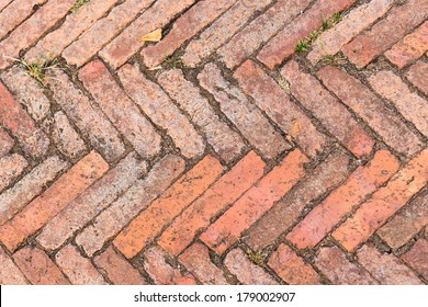 Red Old Brick On Floor Texture Background