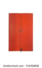 Red old door with triangle knob on white