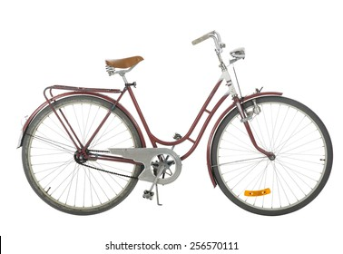 Red Old fashioned bicycle isolated on white background