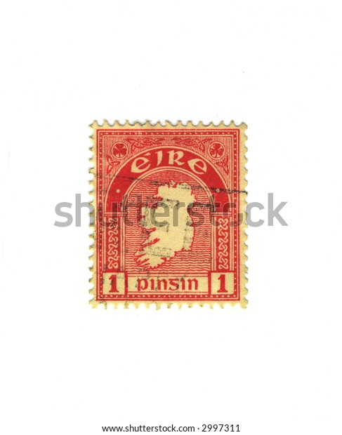 Red old stamp from ireland