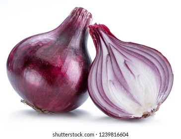 Red onion bulb and cross section of onion on white background.