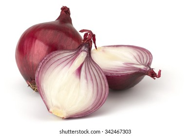 Red onion and fresh parsley isolated on white background