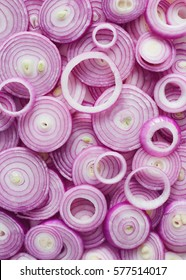 Red Onion Slices. Sliced red onion rings.