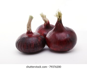 Red onions isolated