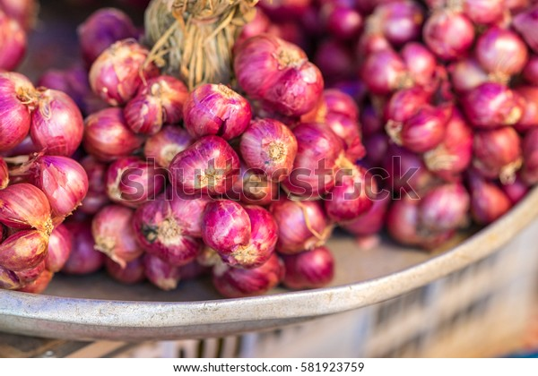 Red onions at local market place, Phuket, Thailand