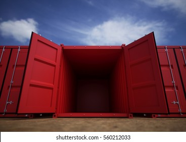 Red open cargo containers in the row