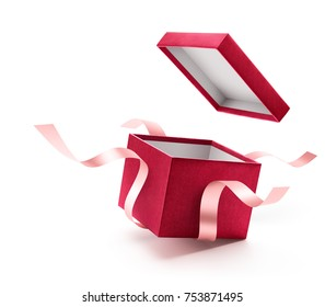 Red open gift box with ribbon isolated on white background - Shutterstock ID 753871495