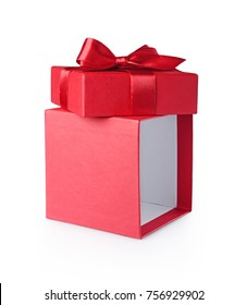 Red open gift box with satin bow isolated on white background