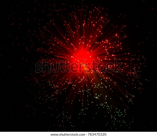 Red optical fiber cables with shining tips