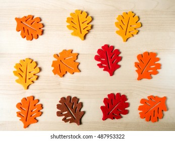Red, orange and brown autumn leaves made of felt