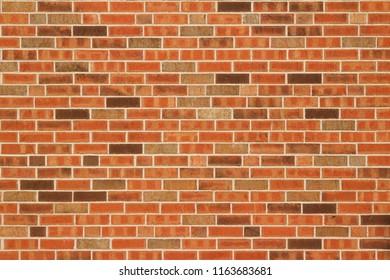 Red, orange and brown colored brick wall background with modern Flemish bond pattern brickwork